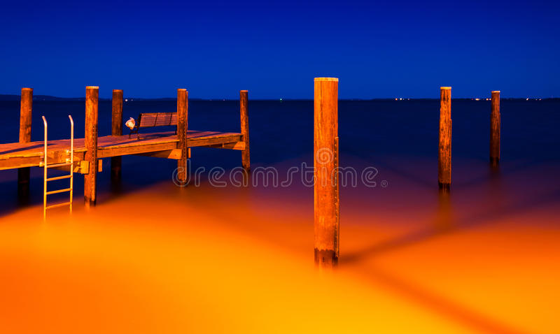Le pilier de pêche à Le Havre de Grace, le Maryland la nuit photos stock