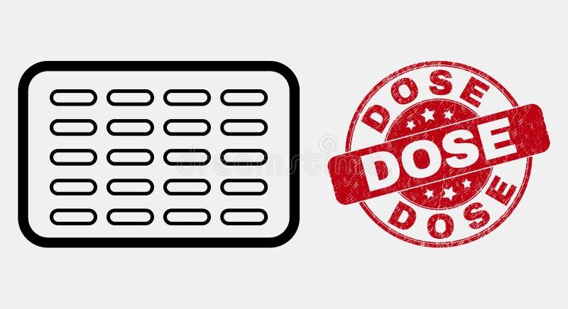 Le pillole del profilo di vettore producono delle bolle sulla guarnizione del bollo della dose di emergenza e dell'icona illustrazione vettoriale