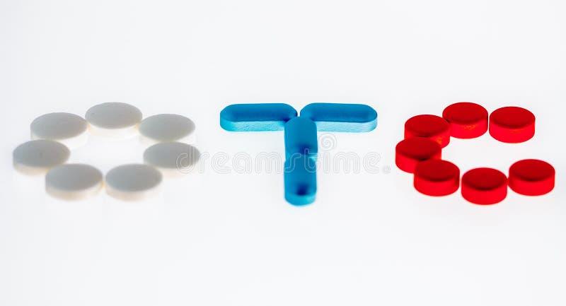 Le pillole spiegano OTC fotografia stock libera da diritti