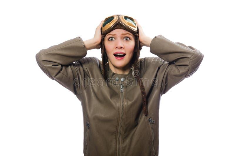 Le pilote drôle de femme d'isolement sur le blanc photos stock