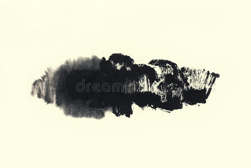 Le pinceau abstrait noir d'aquarelle frotte la texture images libres de droits