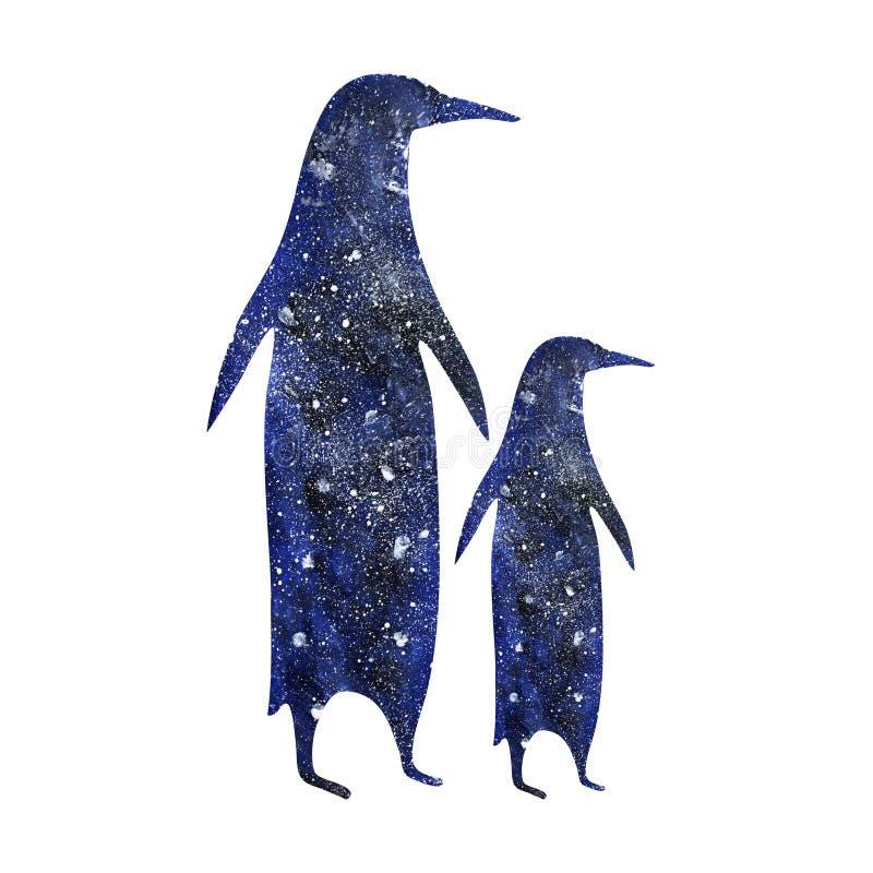 Le pingouin avec le bébé d'isolement dans les parents sauvages antarctiques d'enfants d'art d'illustration d'animaux d'oiseaux bl illustration de vecteur
