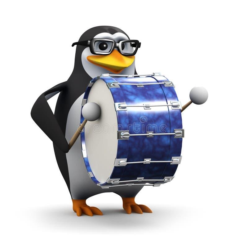 le pingouin 3d frappe sur un grand tambour bas illustration stock