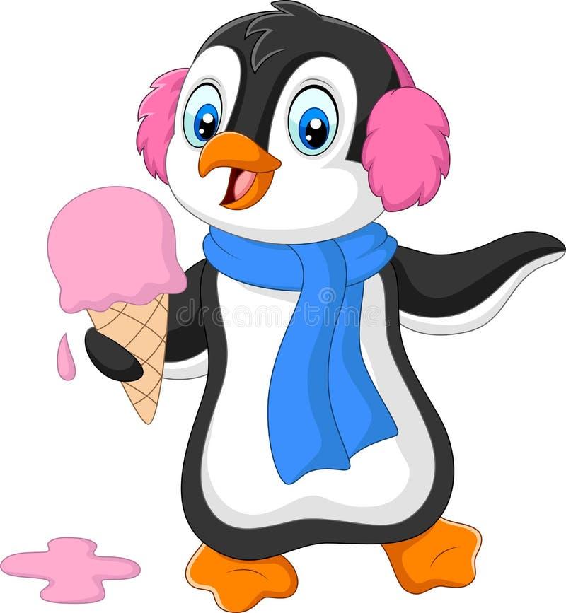 Le pingouin de bande dessinée avec les bouche-oreilles et l'écharpe mange une crème glacée  illustration libre de droits