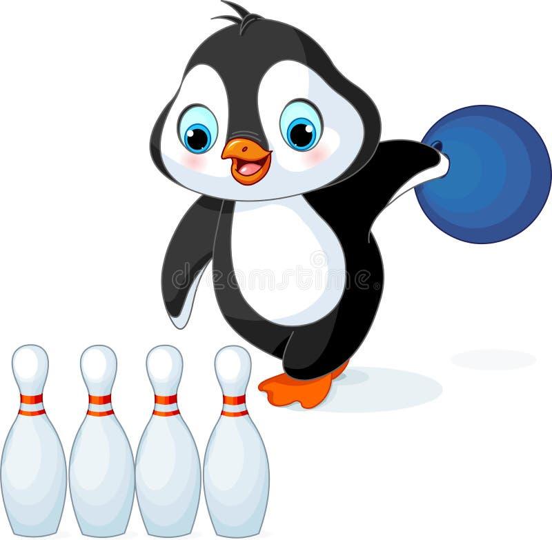 Le pingouin joue au bowling illustration de vecteur