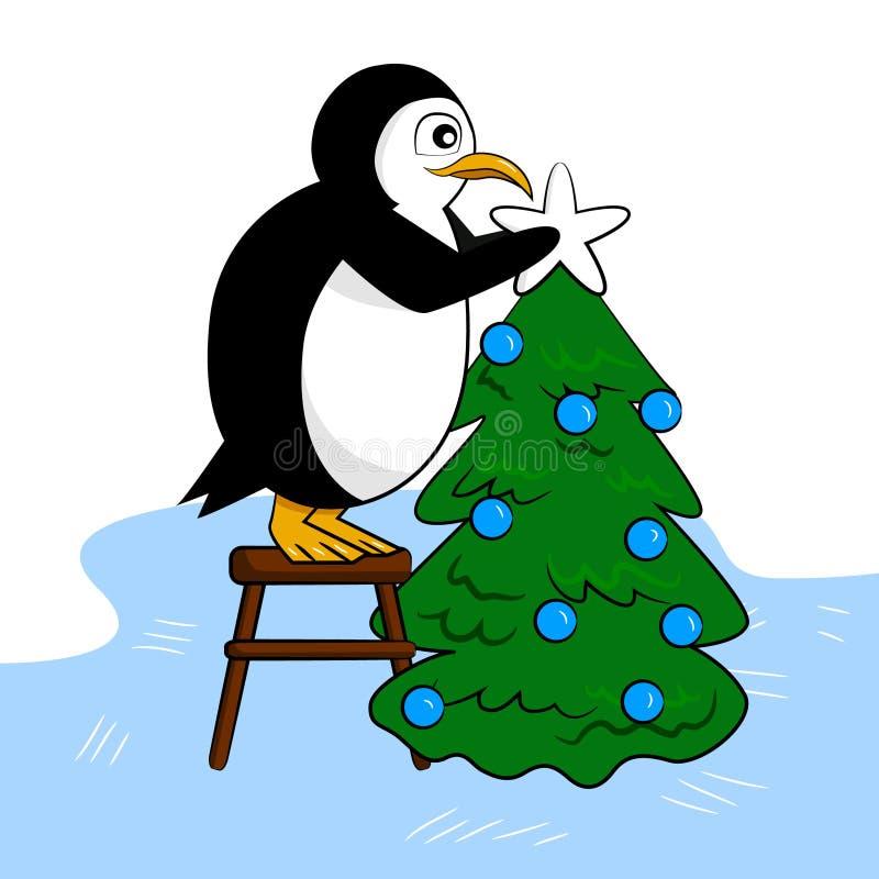 Le pingouin mignon décore l'arbre de nouvelle année illustration libre de droits