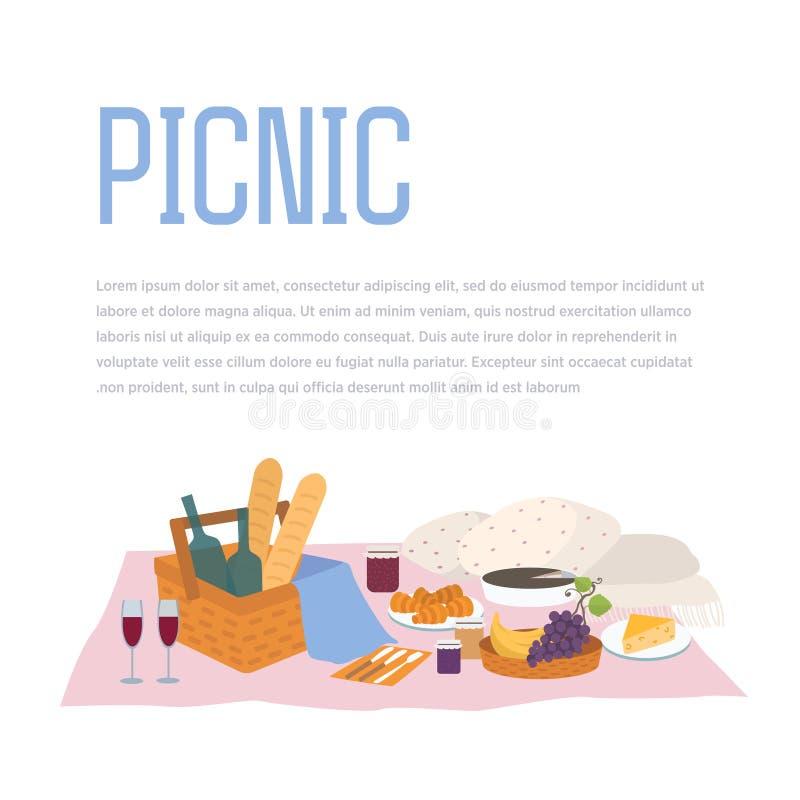 Le pique-nique, extérieur détendent l'illustration de vecteur nourriture et panier dans le style plat Fond avec la place pour le  illustration stock