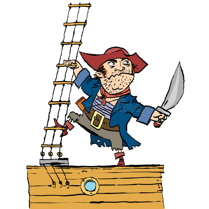 Le pirate courageux est à bord du bateau illustration libre de droits