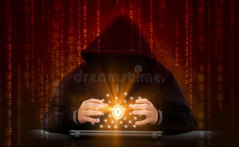 Le pirate informatique attaque le réseau sûr photos libres de droits