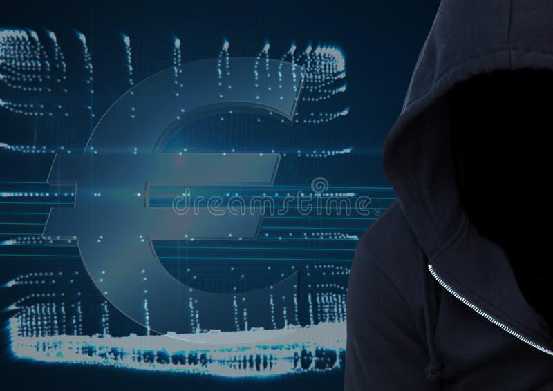 Le pirate informatique bleu-foncé de pullover avec font face foreground Fond de ½ de ¿ d'ordinateur et d'ï illustration stock