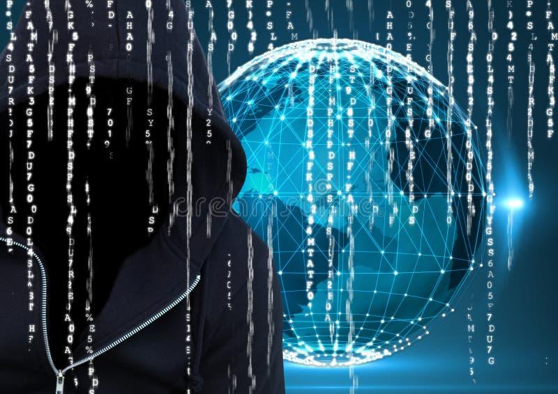 Le pirate informatique bleu-foncé de pullover avec font face foreground fond de la terre, code binaire illustration de vecteur