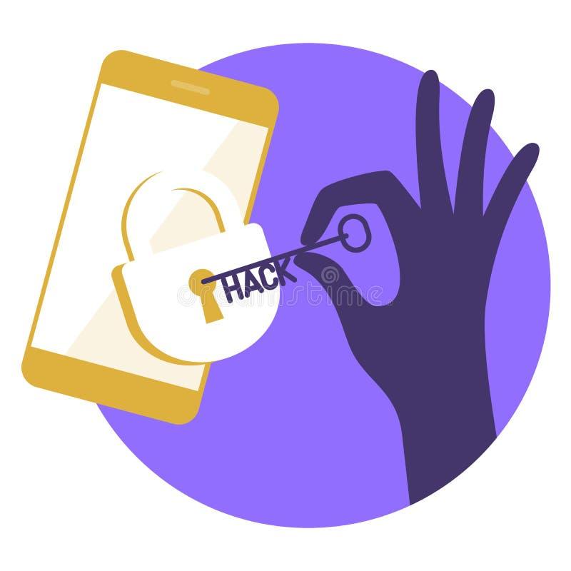 Le pirate informatique casse la protection du dispositif Illustra de concept illustration libre de droits