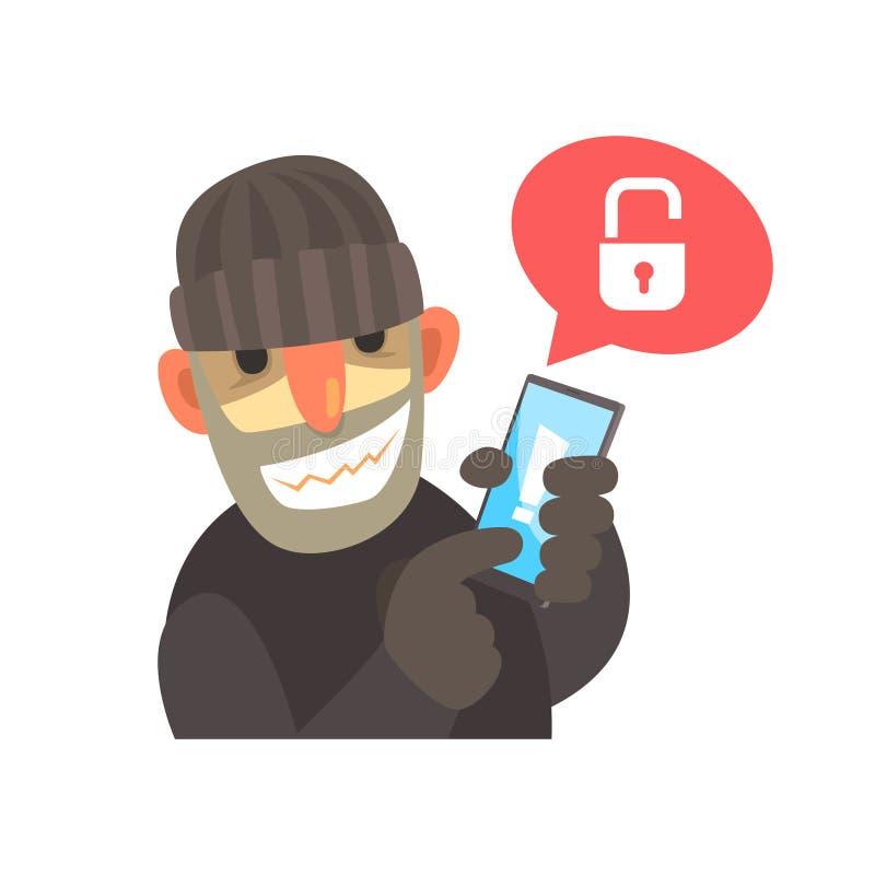 Le pirate informatique de sourire de bande dessinée tenant une bande dessinée entaillée de smartphone dirigent l'illustration illustration libre de droits