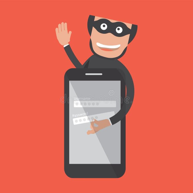 Le pirate informatique pénètre par effraction dans Smartphone Vol de données illustration de vecteur