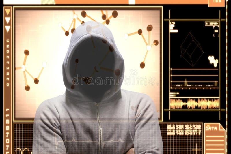 Le pirate informatique se tenant avec le bras a croisé sur l'interface orange illustration de vecteur