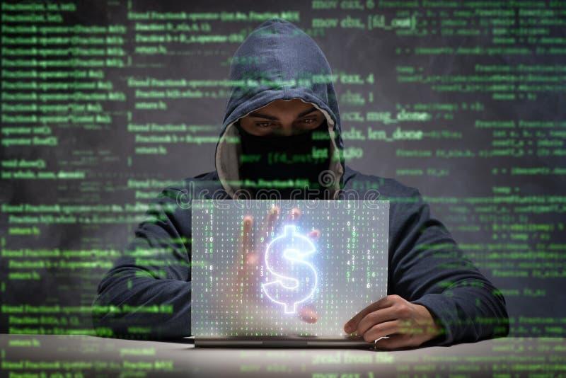 Le pirate informatique volant des dollars de banque image libre de droits