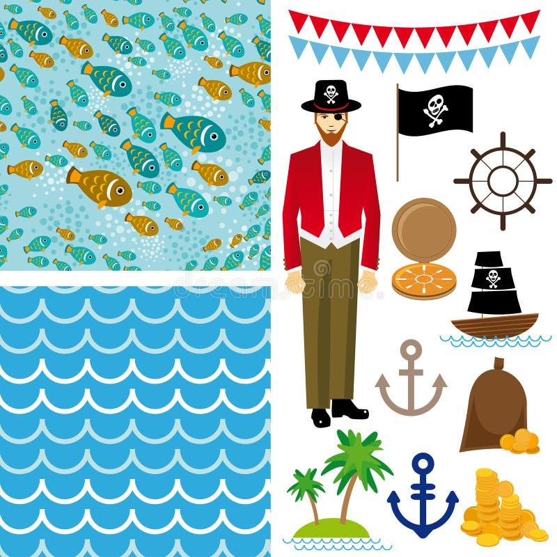 Le pirate mignon objecte la collection Fond sans couture illustration de vecteur