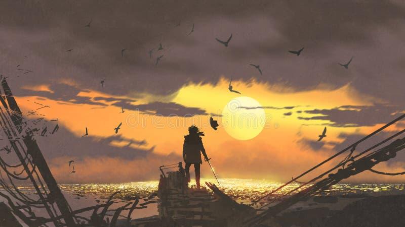 Le pirate regardant les trésors d'or illustration libre de droits