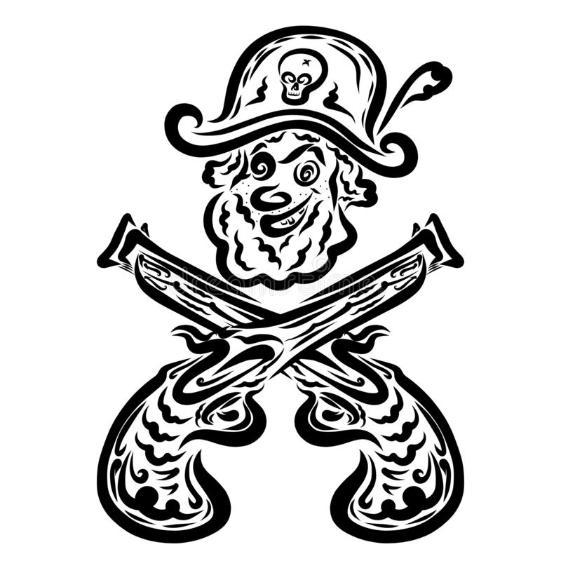 Le pirate riant heureux et deux ont croisé des pistolets illustration de vecteur