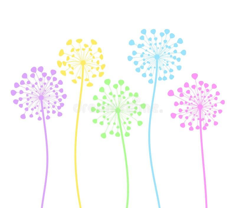 Le pissenlit coloré fleurit dans le style de bande dessinée sur le blanc, vect courant illustration libre de droits