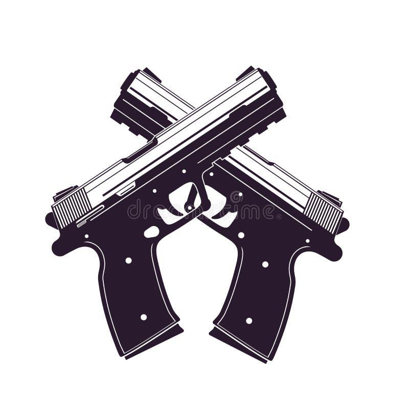 Le pistole moderne, due hanno attraversato le rivoltelle royalty illustrazione gratis
