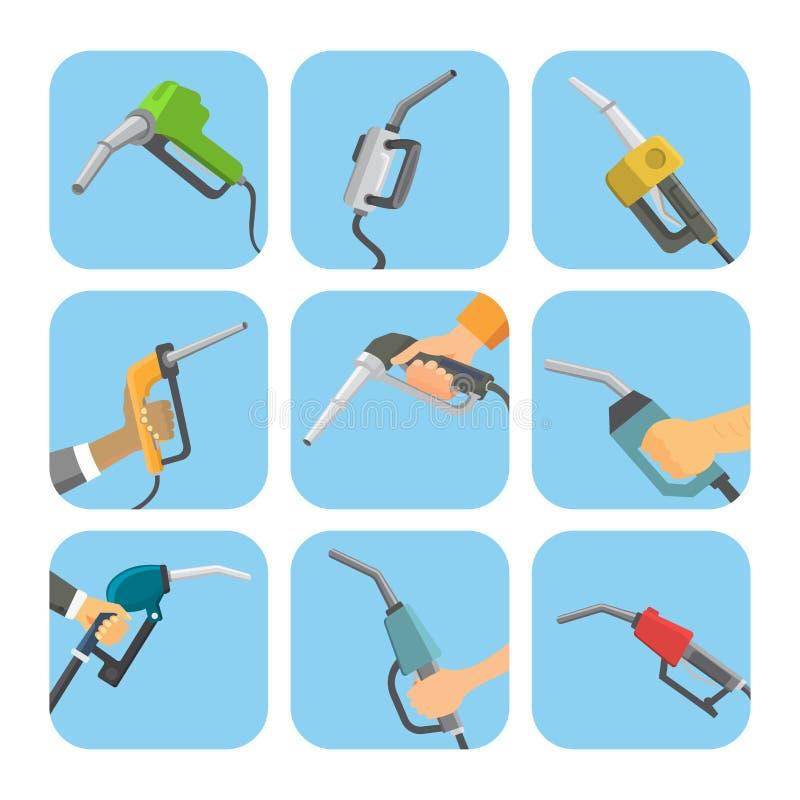Le pistolet remplissant de station d'essence en pétrole de ravitaillement d'industrie de raffinerie de mains de personnes échouen illustration libre de droits