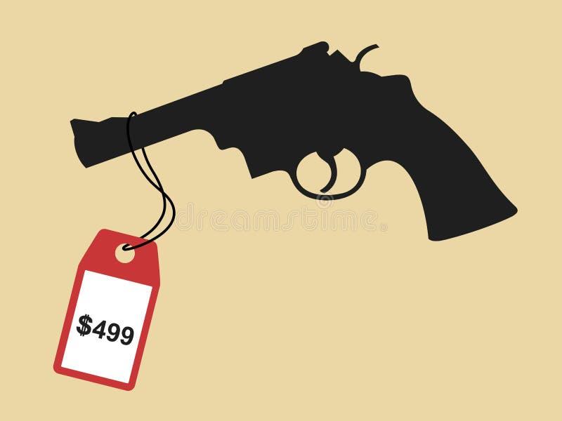 Le pistolet, le revolver et le pistolet est en vente dans le magasin et le magasin illustration stock