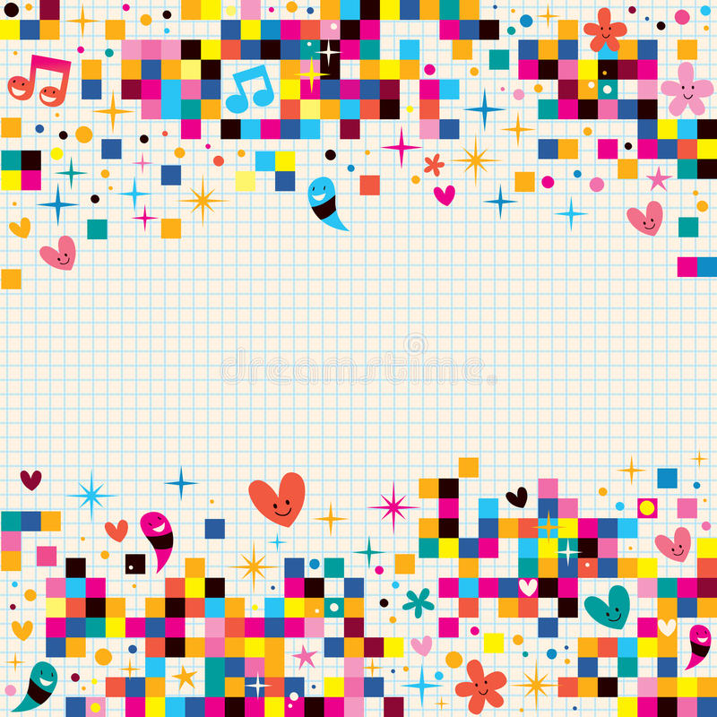Le pixel d'amusement ajuste le fond de papier de note illustration libre de droits