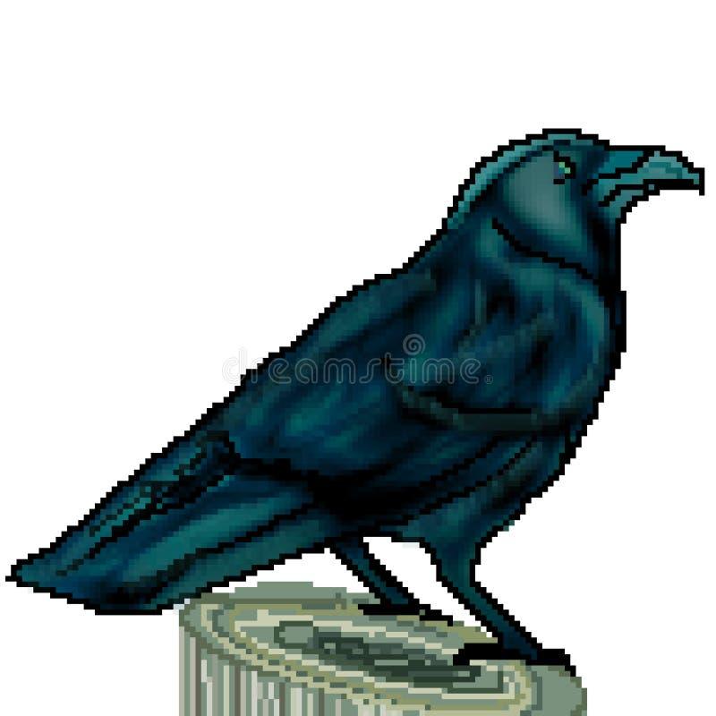 Le pixel 8 a mordu le grand corbeau tiré été perché sur un tronçon illustration libre de droits