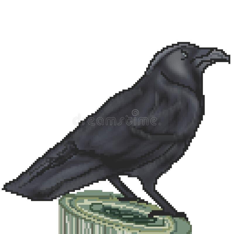 Le pixel 8 a mordu le grand corbeau tiré été perché sur un tronçon illustration de vecteur