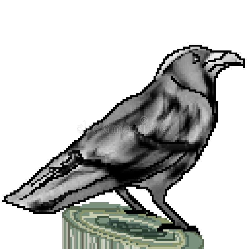 Le pixel 8 a mordu le grand corbeau tiré été perché sur un tronçon illustration stock