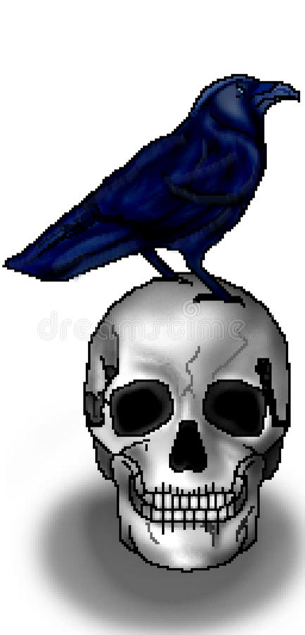 Le pixel 8 a mordu le grand corbeau tiré de silhouette été perché sur un crâne illustration libre de droits
