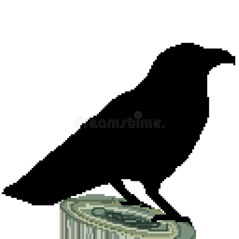 Le pixel 8 a mordu le grand corbeau tiré de silhouette été perché sur un tronçon illustration libre de droits
