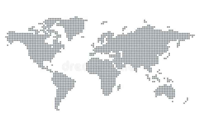 Le pixel pointille la carte du monde illustration stock
