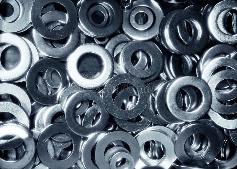 Le placer en aluminium brillant de rondelles de freinage a détaillé l'image courante photo libre de droits