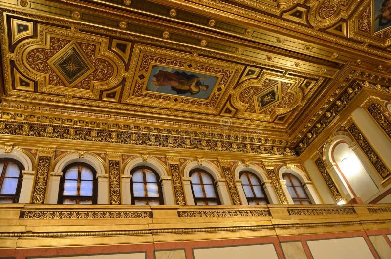 Le plafond de la salle d'or dans la maison de consert de Vienne photos libres de droits
