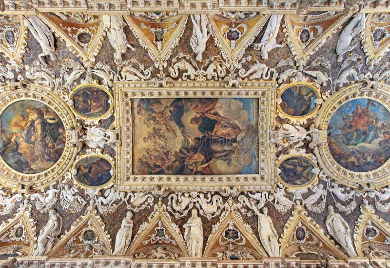 Le plafond de pièce de quatre portes, palais de doge, Italie images stock