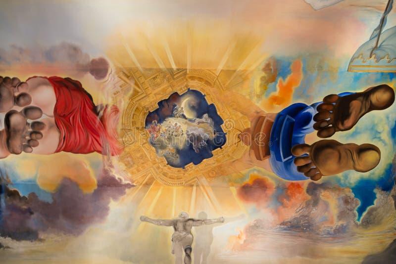 Le plafond de Salvador Dali dans le musée à Figueres ; L'Espagne image libre de droits
