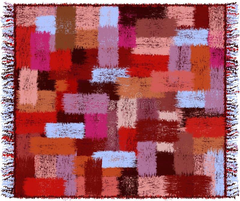 Le plaid avec le modèle géométrique avec le grunge a barré les éléments et la frange rectangulaires colorés d'armure illustration stock