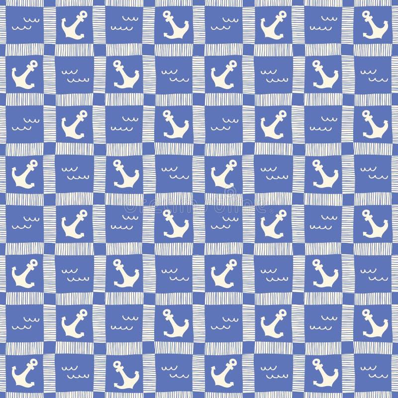 Le plaid nautique monochrome tiré par la main avec des ancres et les vagues dirigent le modèle sans couture Fond marin bleu illustration libre de droits