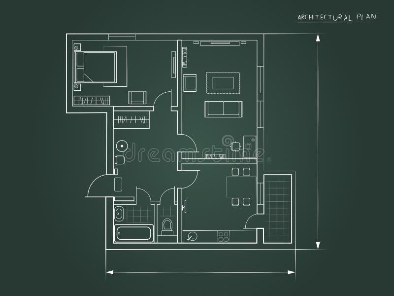 Le plan architectural un fond foncé Vue supérieure illustration de vecteur