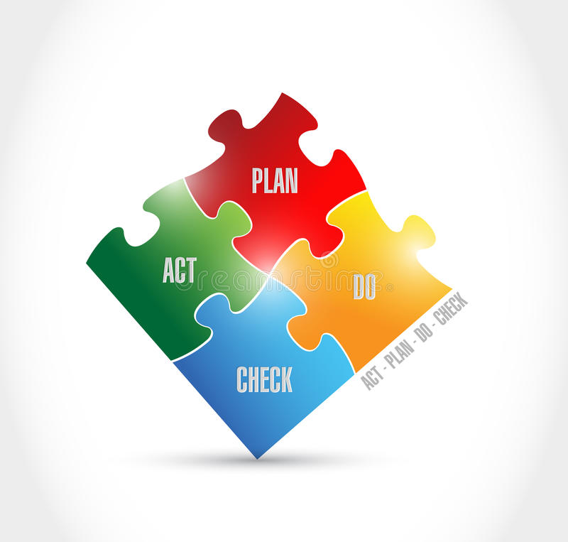 Le plan d'acte vérifient des morceaux de puzzle illustration stock