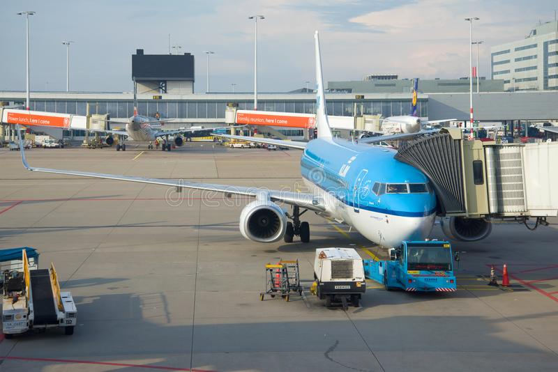 Le plan de Boeing 737 de la ligne aérienne de KLM dans l'aéroport de Schiphol le jour ensoleillé photo libre de droits