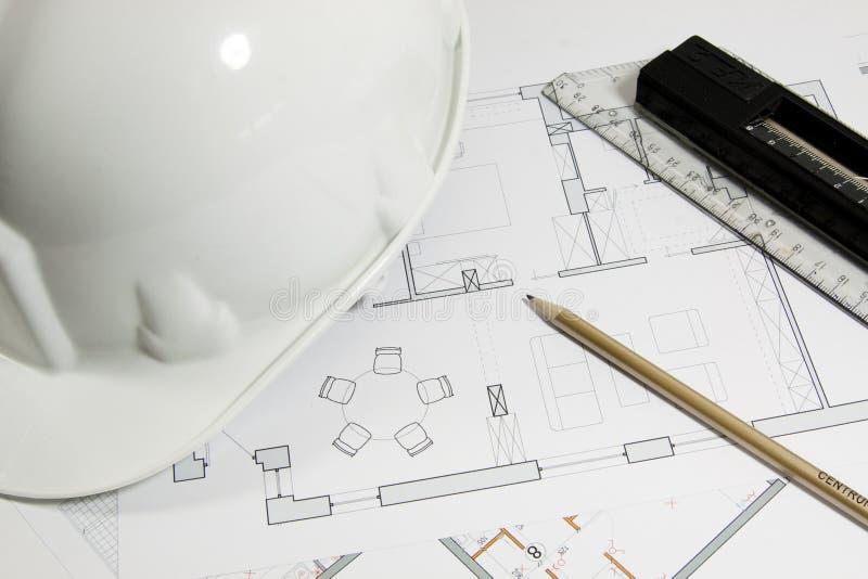 Le plan de construire une maison photo libre de droits