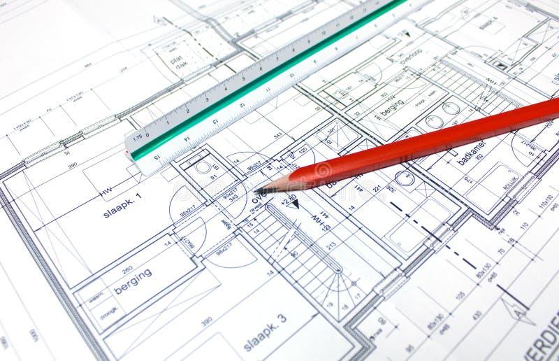 Le plan de l'architecte photographie stock