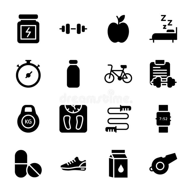 Le plan de régime, sports complètent, des icônes de nutrition emballent illustration de vecteur