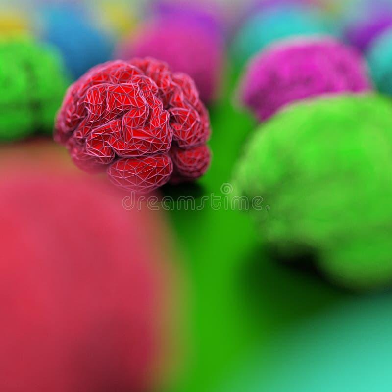 Le plan rapproché de 3d rouge rendent l'illustration de cerveau, bas poly style illustration libre de droits