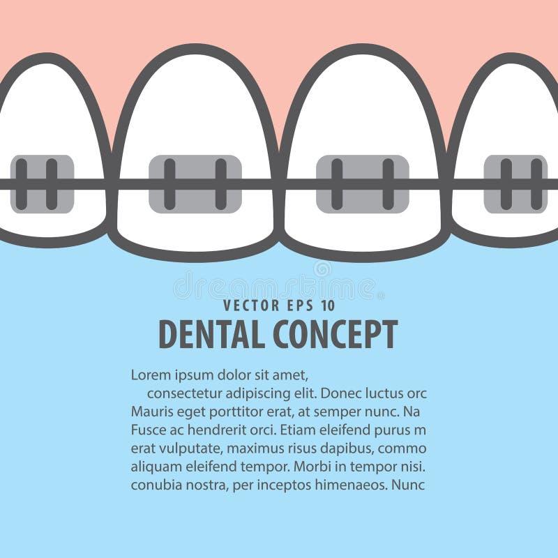 Le plan rapproché de disposition attache le vecteur supérieur d'illustration de dents sur le Ba bleu illustration de vecteur