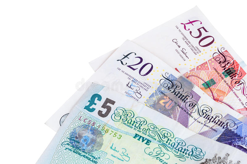 Le plan rapproché de l'anglais martèle des billets de banque photo stock