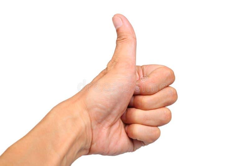 Le plan rapproché de la main masculine montrant des pouces lèvent le signe images stock